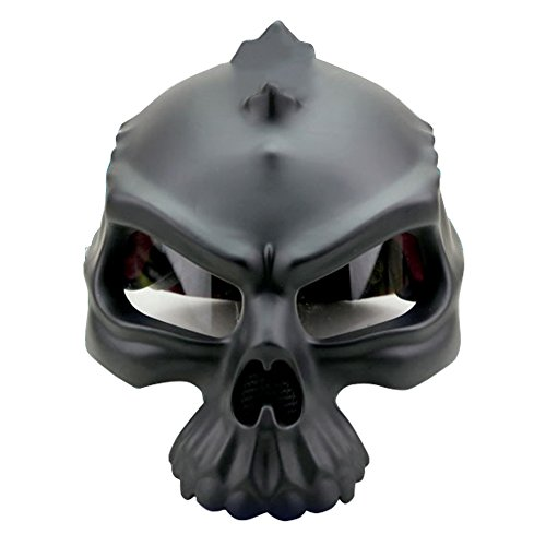 m DOT, offenes Gesicht, 3D-Totenkopf/Skelett, halber Helm, matt schwarz, weiß, goldfarben, grün, pink, S, M, L, XL, XXL, Herren Kinder damen, matte black (Billig Adult Spiderman Kostüm)