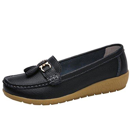 OVERDOSE Mocassins Pampilles Femme, Chaussures Plats en Cuir Ballerines Casual Soft Slip-on Shoes