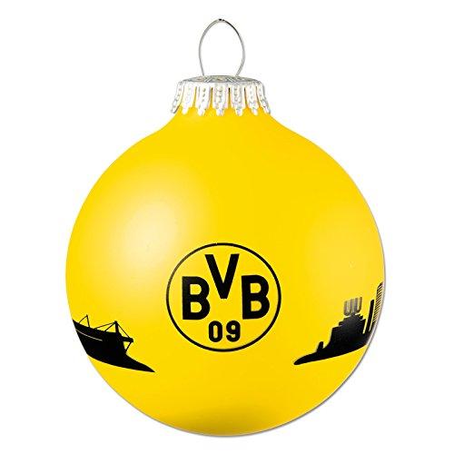 Borussia Dortmund Weihnachtskugel, Schwarzgelb, Glas, 6 cm Durchmesser, BVB-Emblem, Dortmunder Skyline one Size