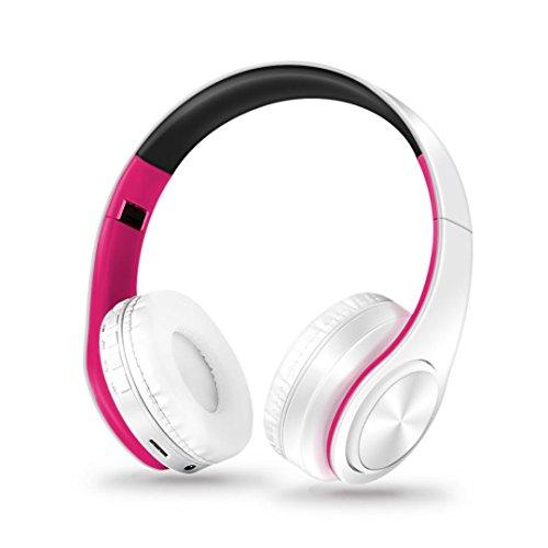 Y56 Kabellos Drahtloser Bluetooth Faltbarer Kopfhörer Stereokopfhörer Kopfhörer für iPhone Samsung (Hot Pink)