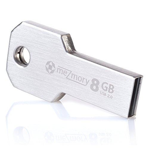 USB-Stick 8GB 2.0 Schlüssel-Form Mini ** Wasserdicht & Schnell ** Extrem Robust aus Metall (Edelstahl) ** Ideal für Schlüssel-Anhänger ** in Silber by mezmory