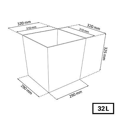 U Prosper Plast DRTS325L-S433 Blumentopf-Set, 32 x 32 x 32,5 cm, Anthrazit (12-teilig) von P auf Du und dein Garten