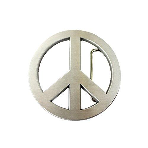 alle - Peace - Friedenszeichen - Buckle (für Wechselgürtel für Damen und Herren | Belt Frauen Männer Oldschool Love Frieden Pray NoWar silber Rockabilly Metall Biker Western Trucker) ()