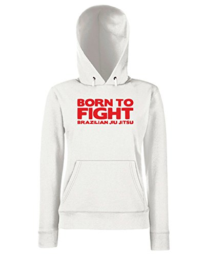 T-Shirtshock - Sweats a capuche Femme TM0480 born to fight Blanc