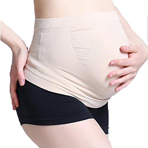 zolimx Fajas de Embarazo, Embarazo Maternidad Cinturón de Apoyo Especial Bump Vientre Cintura Bebé Correa (M, Beige)