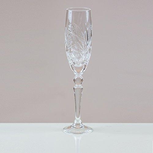 Victoria Kristall peacelily Champagner Flöten 24% geschliffenes Bleikristall 100% Handgefertigt (Set von 6) Cut Punch Bowl