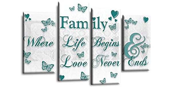 Family Quote Canvas Wall Art Picture Love Powder Grey White Print Large 20x30/""