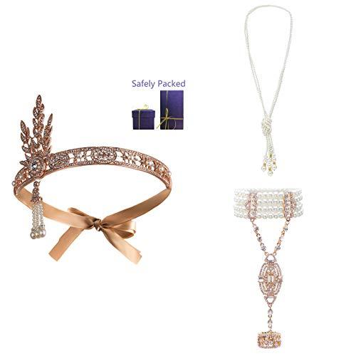 Metme 1920er Jahre Zubehör Set Flapper Roaring 20s Stirnband Ohrringe Perlen Halskette Kostüm für Damen