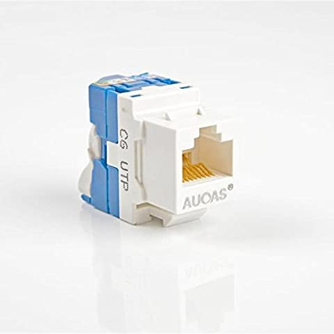Cat6 RJ45 UTP Rotate Tool-less Type Modular Jack Keystone Jack Module for Faceplate & Wall Box & Patch Panel in Blue,