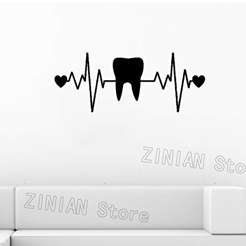 guijiumai Zahn Herzschlag Lebensader Zähne Aufkleber Zahnarzt Aufkleber Muurstickers Poster Vinyl Kunst Wandtattoos Pegatina Quadro Parede Decor schwarz 104X42 cm -
