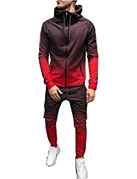 Morbuy Chándal de Otoño Hombres Traje de Deportiva Hombres Sudadera + Pantalones Conjuntos, Costura Hip