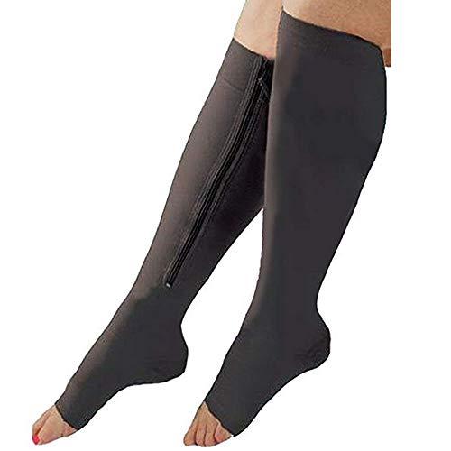 Strimm Open Toe offener Zehenbereich Knielanger Reißverschluss Compression Kalbsocken Kniesocken unterstützen abgestufte Krampfadern Strumpfwaren -
