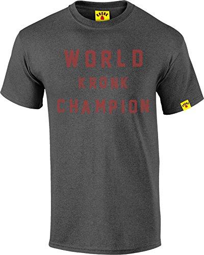 Kronk World Champion Retro-Stil Herren Regular Fit T Shirt Heather Charcoal