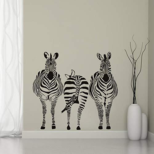 Wandtattoos Wandsticker Drei Zebra Große Größe, Kinderzimmer Schlafzimmer Spielzimmer Wandtattoo, Afrikanischen Stil Kinderzimmer Wandbild Fertige Größe 58X63Cm -