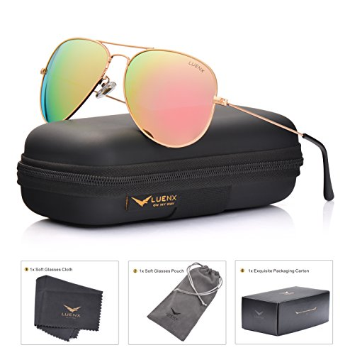 LUENX Aviator Womens Sunglasses Polarized Pink Mirrored lenses Gold Frame UV 400 Protection Fashion Style