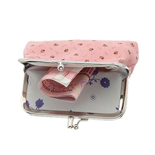 Bigood Mini Porte-monnaie Adulte Enfant Canevas Sac à Main Mignon Rose Fleur