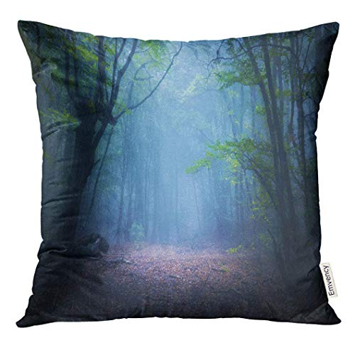 Throw Pillow Cover Forest in Fog Fall Woods Enchanted Autumn The Morning Old Tree Landscape with Trees Colorful Green Decorative Pillow Case Home Decor Square 18x18 Inches Pillowcase - Enchanted Woods