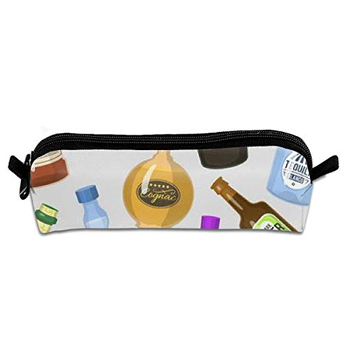 Apron bags Portable Pencil Case Strong Drinks Bottles Cocktail Glasses Whiskey Cognac Brandy Beer Wine Pen Bag Cosmetic Pouch Zipper for School -