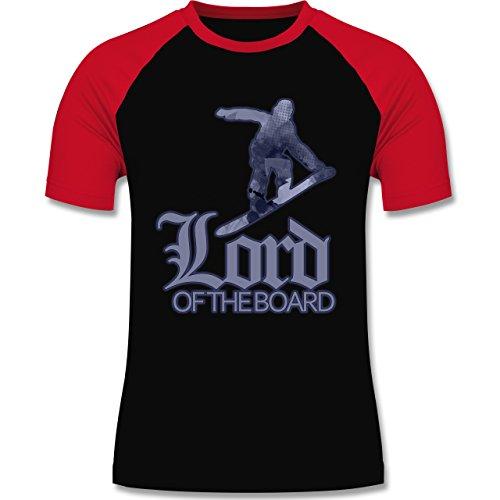 Wintersport - Lord of the board - zweifarbiges Baseballshirt für Männer Schwarz/Rot