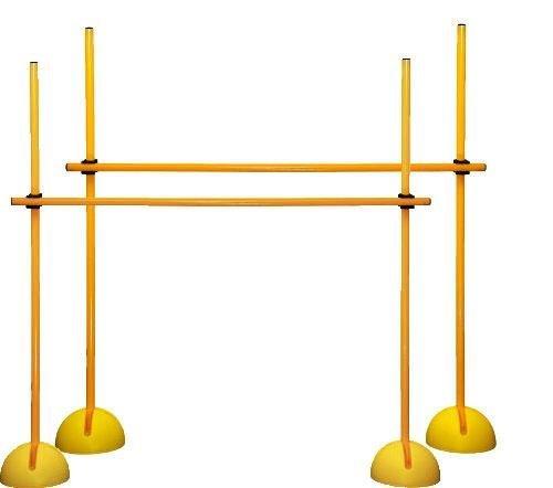 Set de 2 vallas de salto: XS120yc (6 picas, 4 bases para picas rellenables, 4 clips),Color amarillo