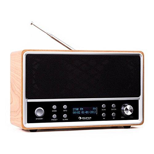 auna • Charleston • Digitalradio • Radiowecker • DAB+ / UKW-Tuner • automatische / manuelle Sendersuche • LCD-Display • RDS • Datum- und Uhrzeit-Anzeige • Sleep-Timer • Snooze • Netz- und Batterie-Betrieb • Bessreflexgehäuse mit Holz-Furnier • braun