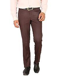 Matalino Men's Brown Slim Fit Formal Trouser
