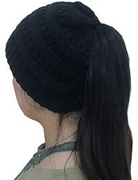 JLTPH Mujer Gorros de Punto Coleta Beanie Sombrero Invierno Suave Cálido  Elástico Knitted Ponytail Beanie Hat f884ba89c68