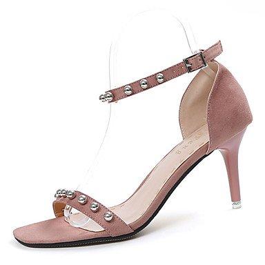 LvYuan Da donna Sandali PU (Poliuretano) Felpato Primavera Estate Perline Fibbia A stiletto Nero Rosa 7,5 - 9,5 cm blushing pink