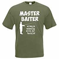 The Classic Image Company Funny Fishing T-Shirt - Master Baiter Always Messing with My Tackle! - Fisherman/Angler Men