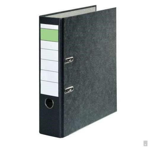 DIN A4 Ordner Aktenordner Ringordner 8cm Schwarz mit Wolkenmarmorbezug/Standardbriefordner mit grünem Balken. Bezogener Einband