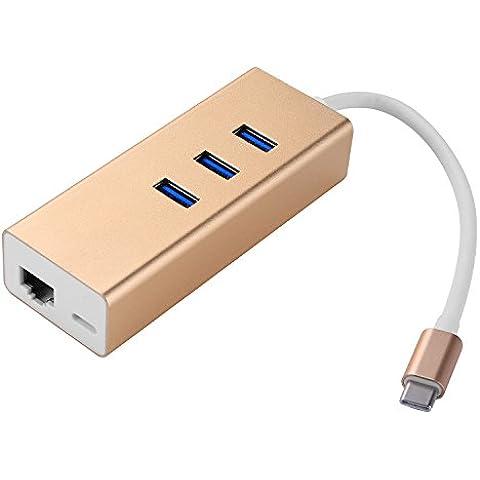 COOSA USB 3.1 Tipo-C y 3\4-Puertos Hub USB 3.0 Adaptador USB-C Puerto de carga para Apple nuevo MacBook, Chromebook Pixel y Más (USB 3.1 Tipo-C y 3-Puertos Hub USB