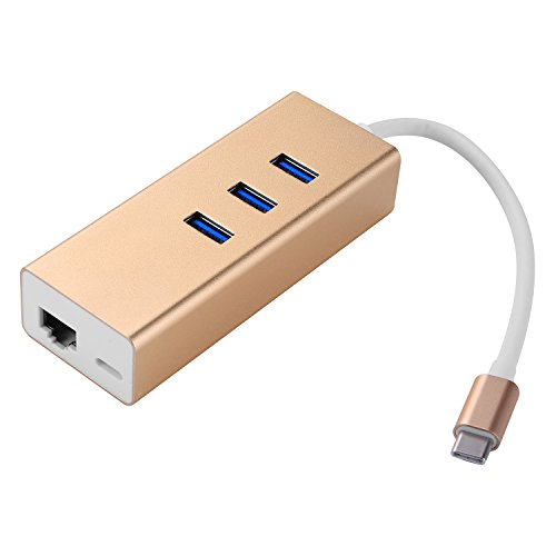 Preisvergleich Produktbild COOSA USB 3.1 Type-C auf 3 Ports USB 3.0 Hub + Gigabit Ethernet Konverter + 1 USB-C Charging Port für Apple New MacBook,ChromeBook Pixel,Surface Pro usw.