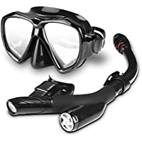 Speedsporting Snorkel Set Scuba Diving Mask Snorkeling Goggles Mask Dry Top Snorkel With Anti-Fog Film Anti-Leak Impact Resistant Tempered Glass Design Snorkel Diving Set For Adults And Youth