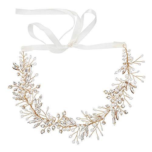 Mode Styling Braut Haarschmuck Pferd Auge Strass Hochzeit Haarband Handgestrickte Brautkleid Zubehör@Gold