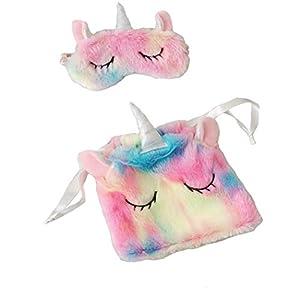 FORLADY Farbverlauf Plüsch Mädchen Stirnband Unicorn Shading Schlaf Eyewear Lagerung Strahl Tasche Regenbogenfarbe