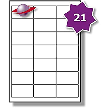 21 Per Page/Sheet, 5 Sheets (105 Sticky Labels), Label Planet® White Blank Matt Self-Adhesive A4 Address Addressing Shipping Stickers, Printable With Laser or Inkjet Printer, UK LP21/63, 63.5 x 38.1 MM, FOR JAM FREE PRINTING, Mail Labelling