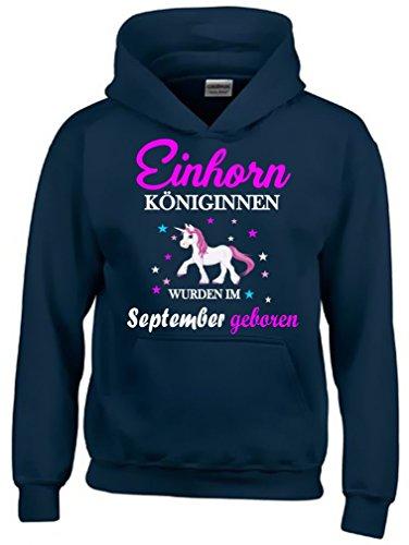 Einhorn Königinnen wurden im SEPTEMBER geboren ! Unicorn NAVY-HOODIE, Gr.128cm