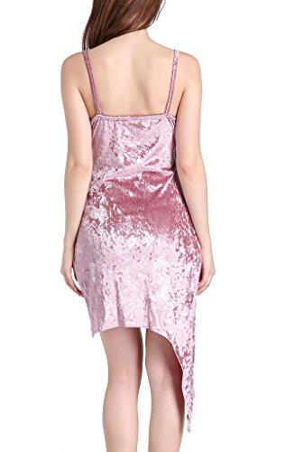 Frauen Trägerkleid Kleider Kleid Minikleid Ärmellos Trägerlos Velvet Kreuz V-Ausschnitt Irregular Figurbetont Uni-Farben Pink