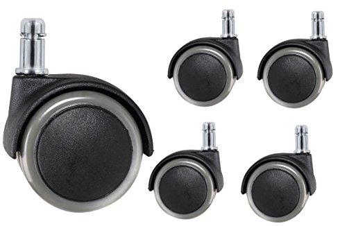 41sQXRp9GoL - TUKA 5X Harbodenrollen, 11 mm, Juego Universal de Ruedas para Suelos Duros, 5 Piezas, Ruedas para sillas de Oficina, Giratoria para Sillas de Oficina Piezas de Recambio. Gris, TKD-3200 Grey