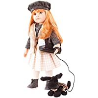 Gotz Hannah & Her Dog 1759086 - 50 cm tall standing doll with red long hair and eyes in a 12-piece set with DVD - suitable for children from 3 years