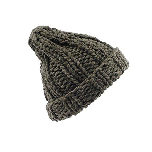 Morbuy Gorras Mujer, Mujer Cable Knit diseño Reloj Cap Gorro Las Mujeres Invierno Crochet Sombrero Piel Cannabis Mapache Caliente (Verde)