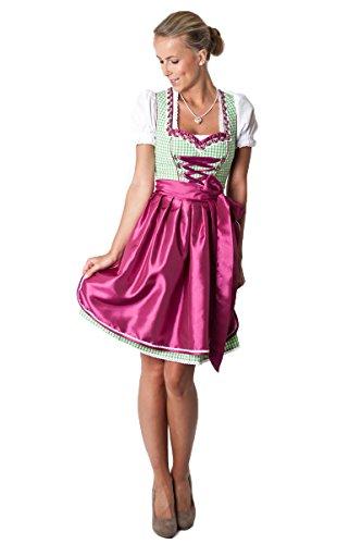 Ludwig und Therese Damen Trachten Dirndl-Set Violetta mini grün/beere 3-tlg 11207 38