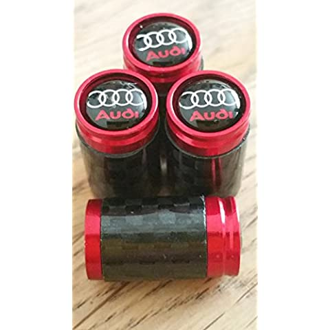 Audi negro Top Rojo y fibra de carbono válvula de rueda Dust Caps Exclusivo Para US TODOS LOS MODELOS RS TT A1A2A3A4A5A6S1S2S3S4S5S6Q7A8