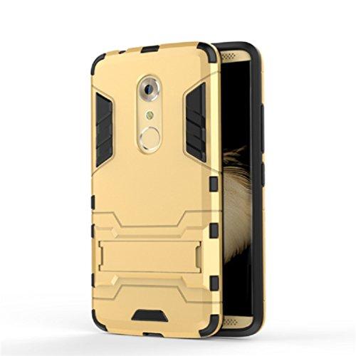 Bllosem ZTE Axon 7 Hülle Hybride Dual-Layer PC+TPU Kompletter Schutz Standfunktion Tasche für ZTE Axon 7 Gold