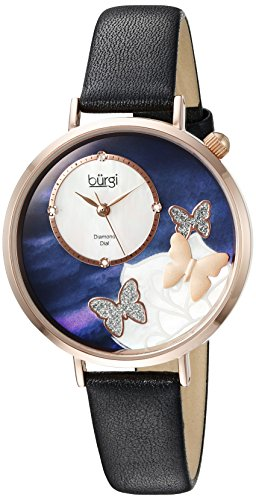 Burgi Women's Rose-Tone Case with Genuine Diamond Accented Butterfly Design Mother-of-Pearl Dial on Black Leather Strap Watch BUR158BKR image