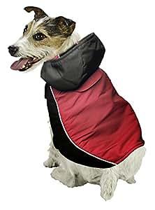Pistachio Pet Hunde-Regenjacke, zweischichtig: außen wasserfest, innen aus Vlies, abnehmbare Kapuze