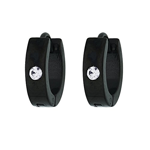 BeBold Black Stainless Steel Hoop Earring for Men/Boys
