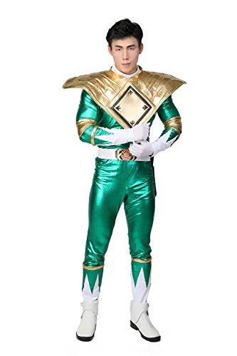 Power Rangers Kostüm Sets - Fancy Dress Kostüm Erwachsene Grüne Ranger Cosplay Halloween Full Set PU Overall Outfit mit Gürtel Zubehör
