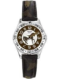 Trendy Kiddy - KL147 - Montre Garçon - Quartz Analogique - Cadran Multicolore - Bracelet Cuir Noir