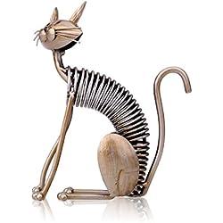 Tooarts - Escultura Metálica Hecha a Mano - Gato - Aparatos de Hierro Decorativo para la Decoración del Hogar (Obra de Artesanía)